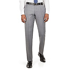 Ben Sherman - Grey heritage check plain front slim fit kings suit trousers