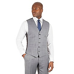 BEN SHERMAN - Grey heritage check slim fit kings suit waistcoat