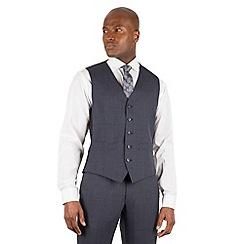 Ben Sherman - Slate blue tonal check slim fit kings suit waistcoat