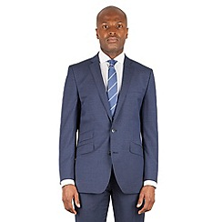 Ben Sherman - Blue tonal check 2 button front slim fit kings suit jacket