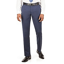BEN SHERMAN - Blue tonal check slim fit kings suit trouser