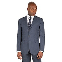 BEN SHERMAN - Slate blue textured 3 button front slim fit kings suit jacket