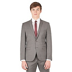 Ben Sherman - Grey with warm overcheck 2 button front super slim fit camden suit jacket