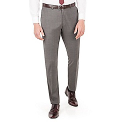 Ben Sherman - Grey with warm overcheck plain front super slim fit camden suit trouser