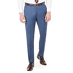 Ben Sherman - Blue birdseye plain front super slim fit Camden suit trousers