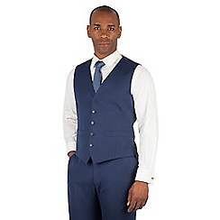 Centaur Big & Tall - Bright blue semi plain 5 button front suit waistcoat