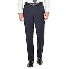Jeff Banks - Jeff Banks Blue tonal check plain front regular fit luxury suit trouser