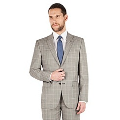 Jeff Banks - Jeff Banks Grey heritage check 2 button front regular fit luxury suit jacket