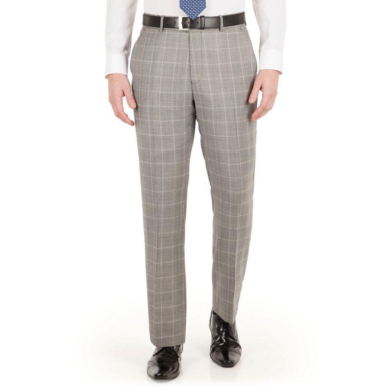 Jeff Banks Grey Heritage Check Plain Front Regular Fit