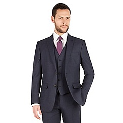The Collection - Blue tonal check regular fit 2 button suit jacket