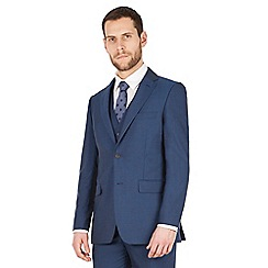 The Collection - Blue panama regular fit 2 button washable suit jacket