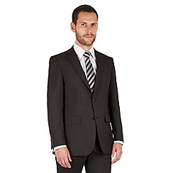 The Collection - Black panama regular fit 2 button washable suit