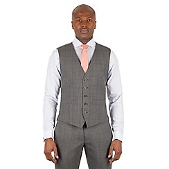 Racing Green - Grey tonal check 5 button front waistcoat