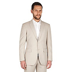 The Collection - Oatmeal linen regular fit 2 button suit jacket
