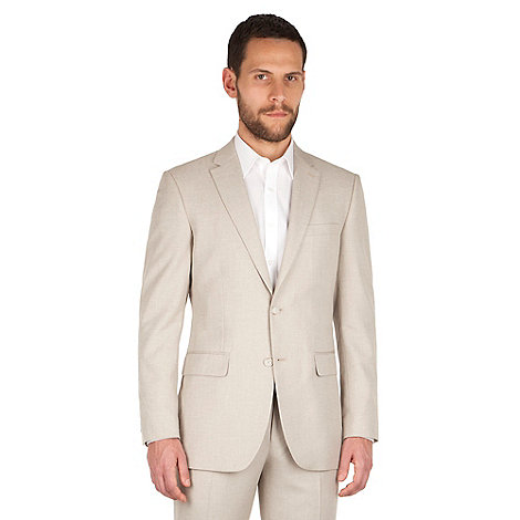 The Collection Oatmeal linen regular fit 2 button suit jacket ...