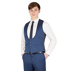 Red Herring - Bright blue micro 4 button scoop waistcoat