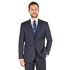 Jeff Banks - Jeff Banks Blue with pink overcheck 2 button front regular fit black label suit