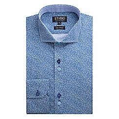 Stvdio by Jeff Banks - Stvdio by Jeff Banks Blue Micro Floral Print Shirt