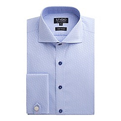 Stvdio by Jeff Banks - Light Blue Spot Jacquard Shirt