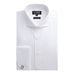 Stvdio by Jeff Banks - White Square Jacquard Shirt