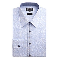 Stvdio by Jeff Banks - Light Blue Paisley Print Shirt