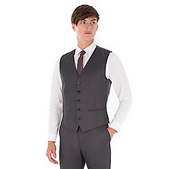 Red Herring - Charcoal textured 5 button slim fit suit waistcoat