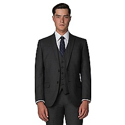 Racing Green - Charcoal pick and pick tailored fit 2 button suit jacket