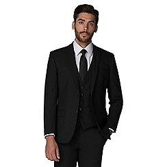 Racing Green - Black plain twill tailored fit 2 button suit jacket