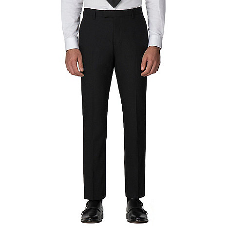 Racing Green - Black plain twill tailored fit suit trouser