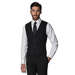 Racing Green - Black plain twill 5 button front waistcoat