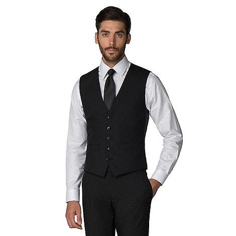 Racing Green - Black plain twill 5 button front waistcoat