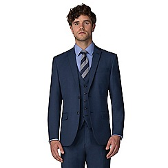 Racing Green - Blue pick and pick tailored fit 2 button suit
