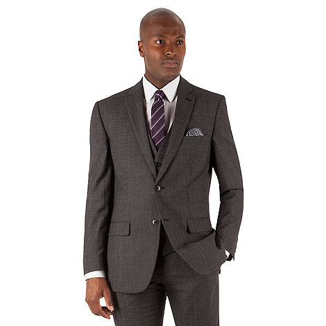 Racing Green - Racing Green Grey textured puppytooth tailored fit 2 button suit jacket