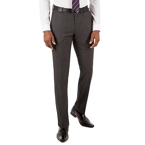 Racing Green - Racing Green Grey textured puppytooth tailored fit suit trouser