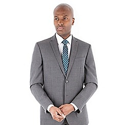 Racing Green - Grey textured jaspe wool blend 2 button tailored fit suit jacket