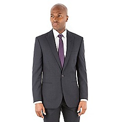 Racing Green - Navy textured wool blend 2 button tailored fit suit jacket