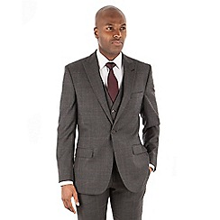 Racing Green - Grey with rust overcheck wool blend 2 button tailored fit suit jacket