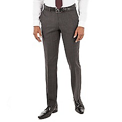 Racing Green - Grey with rust overcheck wool blend plain front tailored fit suit trouser