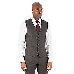 Racing Green - Grey with rust overcheck wool blend 5 button tailored fit suit waistcoat