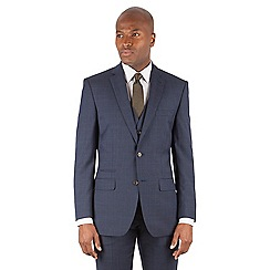 Racing Green - Navy tonal check tailored fit 2 button suit jacket