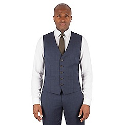 Racing Green - Navy tonal check 5 button front waistcoat