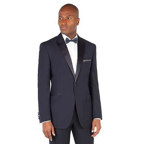 Racing Green - Navy jacquard tailored fit 1 button dress wear suit jacket.
