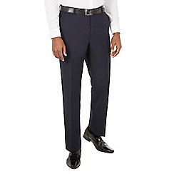 Racing Green - Navy jacquard tailored fit dresswear trouser.