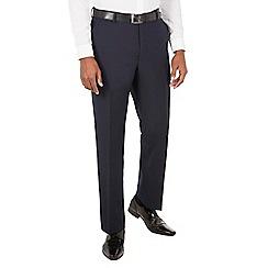Racing Green - Navy jacquard tailored fit dresswear trouser.