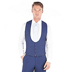 Occasions - Blue plain scoop 4 button waistcoat