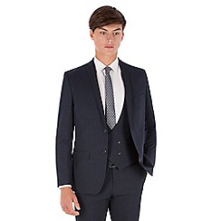 Red Herring - Blue textured pupptooth 2 button front slim fit suit jacket