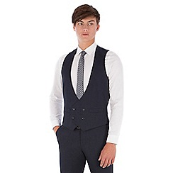 Red Herring - Blue textured puppytooth double breasted slim fit suit waistcoat