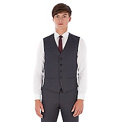 Red Herring - Grey jaspe check 5 button slim fit suit waistcoat
