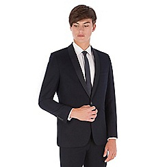 Red Herring - Navy plain jacquard shawl collar slim fit 1 button suit