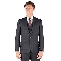 Red Herring - Navy heritage check 2 button front slim fit suit jacket